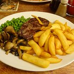 8oz Steak with Chips peas and Mushrooms.