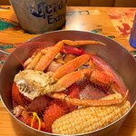 Crab, shrimp and Lobster in a pot