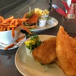 Fish and chips, burger and chips, sweet potato fries
