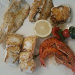 Mixed grilled fish platter