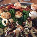 The piatto smeralda made of grilled shrimp, scallops, and squid