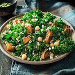 Butternut Kale Salad:  Fresh kale, roasted butternut squash, chickpeas and feta mixed with pumpkin and sunflower seeds tossed in honey-citrus vinaigrette.