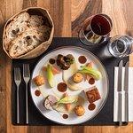 Trio de porc avec ses petits légumes et ses croquettes de pommes de terre