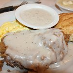 Country fried steak, eggs, biscuit & gravy.