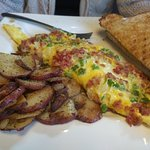 Western Omelet with Potatoes and Wheat Toast