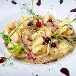 The Pasta of the Day -> Potato Gnocchi with Mushrooms & Crispy Guanciale & Wild Berries 😊