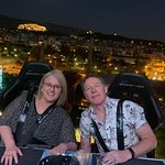 Hubby and I enjoying our Dinner in the Sky experience. Check out that scenery.
