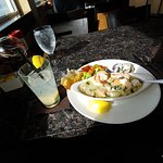 Seafood Saute with Garlic bread, steamed veggies and Citrus Blossom on the side. YUM!!!