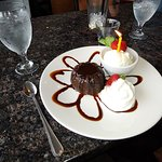 LavaCake and Ice Cream with birthday candle. YUM11