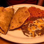 Two taco combo (beef) with sides of rice and beans