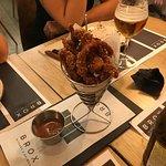 tiras de pollo en tempura