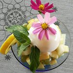 Fruit salad and ice cream coupe.