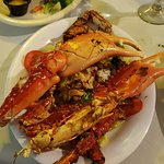 The huge and very tasty Spider Crab from local waters! Delicious! That is a giant Lobster Tail i