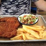 Schnitzel & Chips - huge but very dry, needed sauce to get it down the throat. Crappy service, w