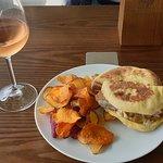 Portuguese rose wine and the house tuna sandwich