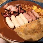 Baked beans, sausages, paratha