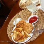 danie dla dzieci.Świetne frytki,kurczak panierowany.keczup i mizeria symboliczna ...ale porcja s