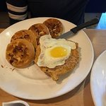 Chicken and Waffles with a perfectly prepared sunny-side up egg!
