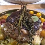 Black Sea turbot, with duck and foie gras beyond