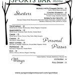 Sports Bar (upstairs) Winter Menu - page 1