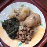 stuffed cabbage leaf with mushrooms, spinach and potato