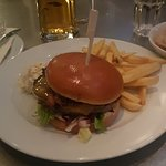 Belgoburger with fries and a Belgo Lager
