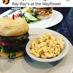 The Poblano Pepper burger and mac salad. In the back is the Mayflower Burger with salad. YUM!!