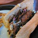 Burnt meat on the cheesesteak