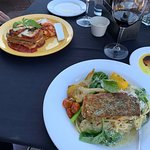 lasagna (left) salmon special (right) - just the right amount of everything