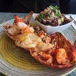 Half lobster with king prawns