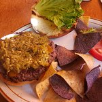 The Shed burger with green chili!