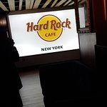 The huge screen in the lobby of the Hard Rock, Broadway NYC