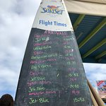 this blackboard tells you what time the planes will land
