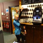 Lauren. a real star, showing the coffee machine