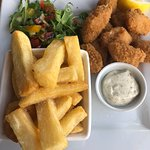 Scampi with chips, excellent home made chips!
