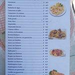 Menu con precios del parador