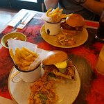 chicken avocado and bacon burger - chips are delicious! Also halloumi fries to share were great.