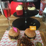 Burger afternoon tea and rose prosecco