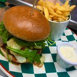 The new Calabrian Burger from Frankie and Bennies' new menu!