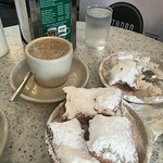 Delicious cafe au lait and beignets at Cafe du Monde in New Orleans.