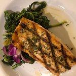 Tasty salmon with broccoli rabe.