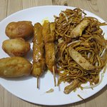 Chicken balls, chunky chicken satay skewers & delicious chicken chow mein