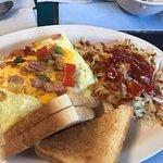 Western Omelet with hashbrowns and toast.