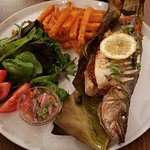 Fish Patarashca, made with fresh seabass and seasoned to perfection. This plate is original of t