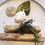 Double ham & cheese toastie with truffle aioli & poached egg.
