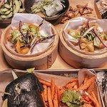 Meatless soup, vege mix, shrimp bun with sweet potato fries, mango sauce
