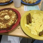 Pancakes, sausage, and eggs