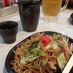Yakisoba, Asahi and Sake