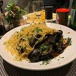 Miesmuscheln in Tomatensoße mit Spaghetti