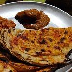 Mirchi paratha with gravy dishes